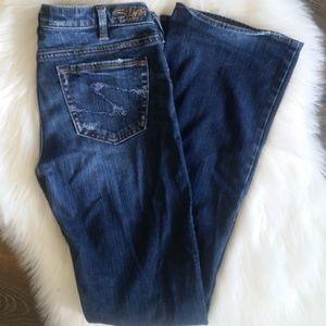 B2G1 Silver Distressed Alex Bootcut Jeans